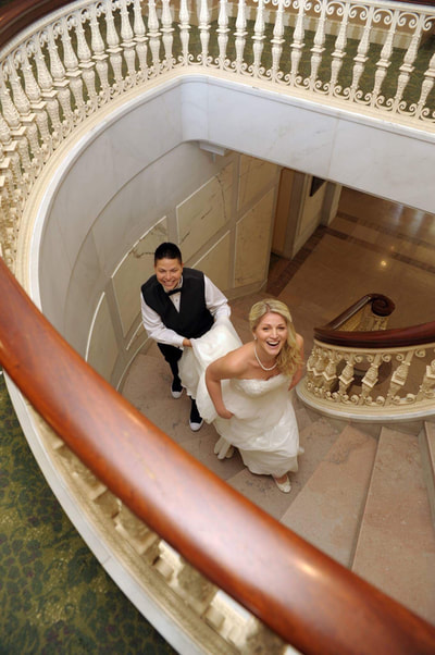 Couple going up stairs